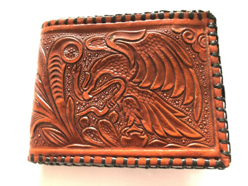 Western Mens Wallet Bifold Leather  Laced Tooled coin compartment inside bk1