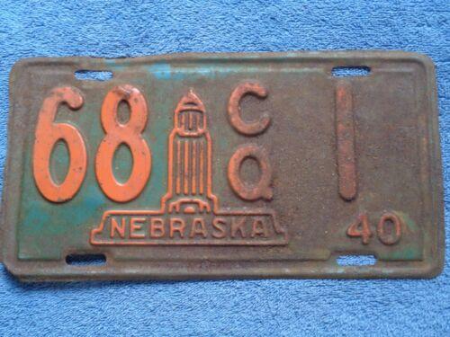 1940  U PICK ONE  Nebraska county specific # 1 or 5 low digit  license plate