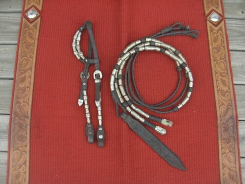 WESTERN SHOW HEADSTALL/BRIDLE + MATCHING WEIGHTED ROMMEL REINS