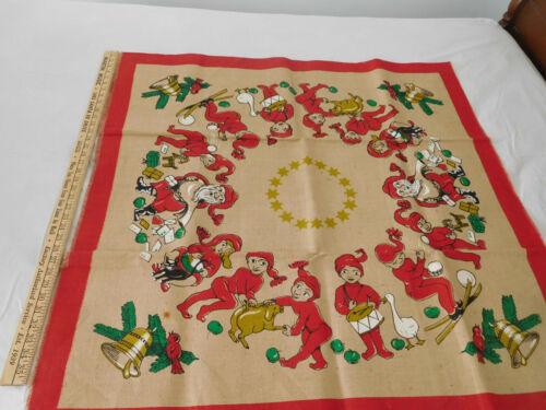 "38"" square BURLAP ELF SANTA TREE SKIRT TABLE CLOTH top decoration"