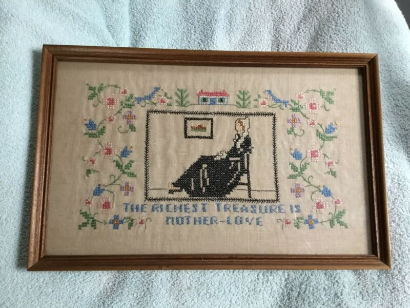 Antique Needlepoint Cross Stitch Framed Sampler