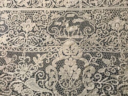 1901 Antique Cantu Bobbin Lace Animals Pheasants Rich Floral Design Tablecloth