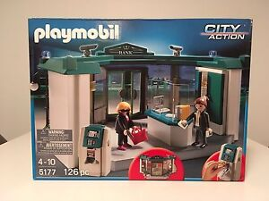 Playmobil 5177 bank with safe toy - New