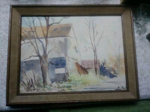 Vintage Original Watercolor Painting Signed Autumn Landscape B. Humphries Art 74 - $35.00
