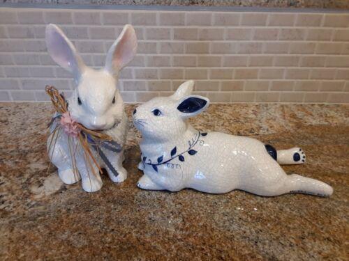 Dedham Pottery Blue White Crackle Bunny Rabbit Figurine & Friend
