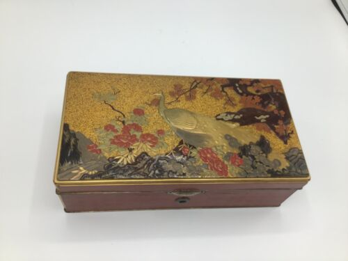 Japanese silver mounted lacquer jewelry box