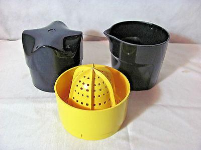 Solingen Germany Black and Yellow Plastic 3 Piece Citrus Juicer