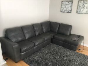 Air soft and strong faux grey leather sectional couch