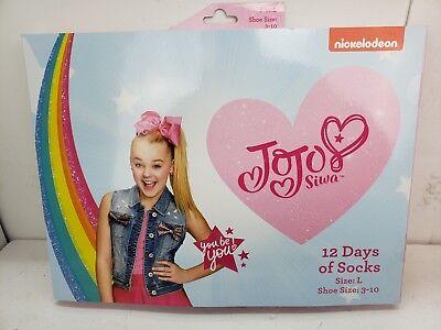 Girls' JoJo Siwa 12 Days of Socks Advent Calendar, LARGE (Shoe Shoe: 3 - 10)