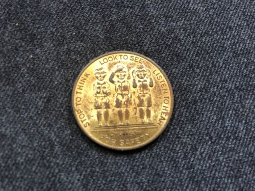 Vintage CAREFUL AT CROSSING Token Stop to Think Look to See Listen to Hear 1939