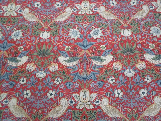 William Morris & Co Curtain Fabric  'Strawberry Thief' 2.3 METRES Crimson/Slate