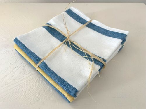 (3) Vintage CANNON Blue and Yellow STRIPE Kitchen Dish TOWELS Farmhouse Chic