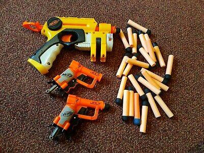 Pair Of Nerf Jolt Shot Blaster gun Darts Bundle Pistols Dart Guns plus extra gun