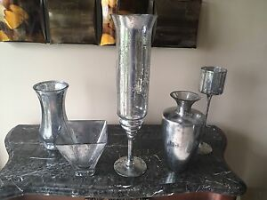 5 Mercury Glass Finish Vases - $25 for all of them!