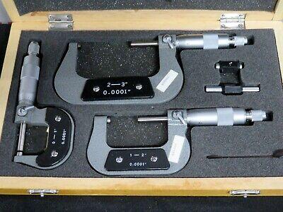 Aerospace Micrometers 0-3 Machinist Tools Starrett Mitutoyo Set Case