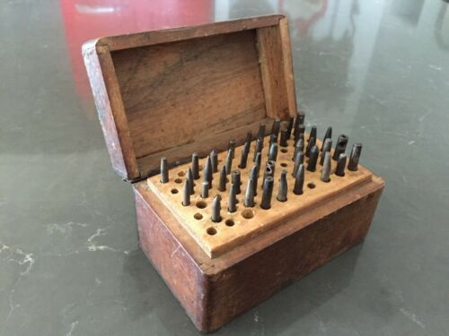 Antique watchmaker's staking tool set 45 stakes