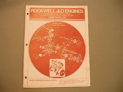 1973 Vintage Rockwell JLO Snowmobile Engine Parts Manual
