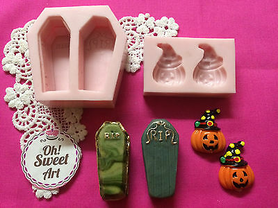 Coffins and Pumpkins Halloween Set silicone mold fondant cake soap wax food - Fondant Halloween Cakes