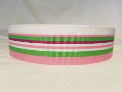 Apple Pink Ribbon - Striped Grosgrain Ribbon ~5 yards~ 1.5