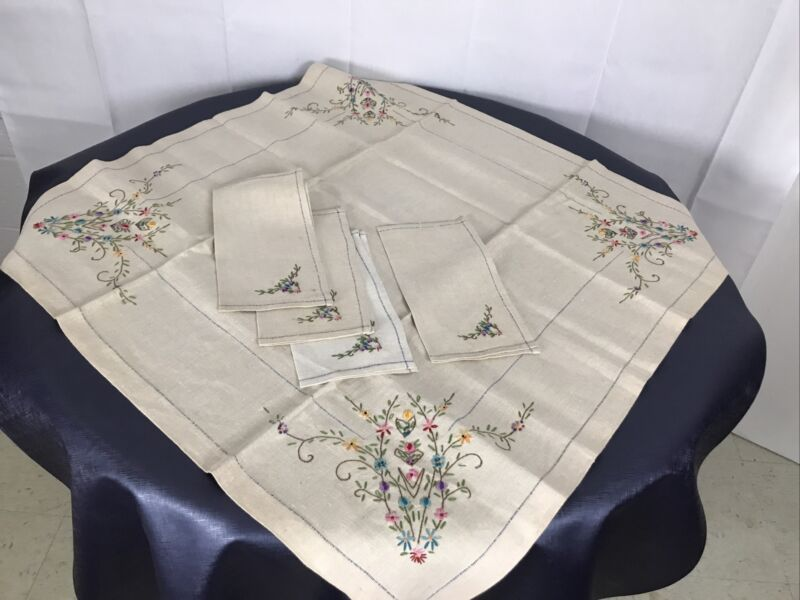 Vintage Fine Linen Napkins & Table Top Square Hand Embroidered Beige