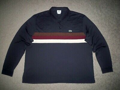 Men's LACOSTE SPORT Long Sleeve Polo (Eur 7) XL NAVY BLUE w/Stripes w/Logo