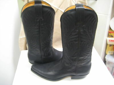 Black Greasy Leather Boot (Tony Mora Women's  Black Greasy Leather Western Boot 3389 Size US 9.5 M New)
