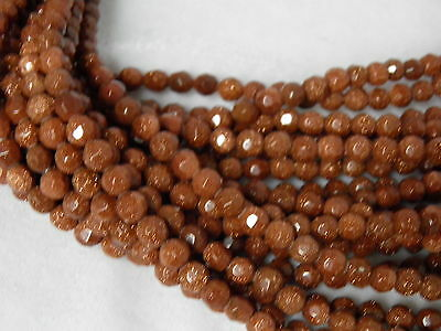 """6mm Gold Sandstone Faceted Round Beads 14.5"""" Strand R10"""