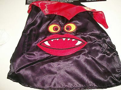 Dog Vampire Satin Cape Pet Halloween Costume Black Red Fangs Size XS 9
