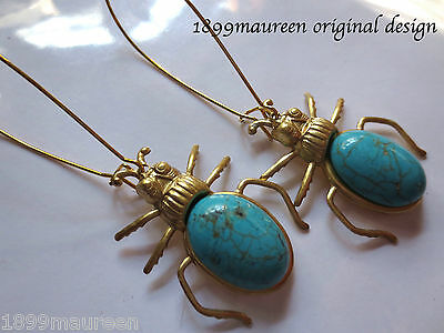 Egyptian Revival Art Deco earrings Art Nouveau vintage style scarab statement