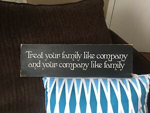 """Hand Painted & Handmade """"Treat Your Family"""" Wooden Signs"""