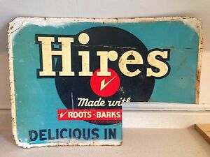 "Rare 1950's Hires Root Beer Original Tin Sign, 27"" X 19.25"""