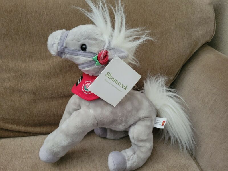 """Wells Fargo Horse Plush Shamrock Pasadena Tournament of Roses 14"""" Tags Attached"""