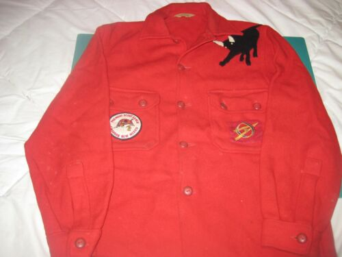BSA OFFICIAL VTG. 60s ORIG. EXPLORER RED WOOL JACKET O.A PATCHES+PHILMONT BULL
