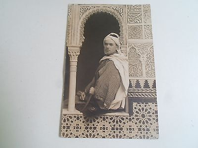 Rare 1923 RPPC Moor In Native Costume Spanish Military ? Carved Building+Dagger