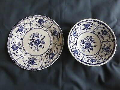 Johnson Brothers Indies Blue Pattern Cereal / Dessert 15.5cm Bowl+Side plate