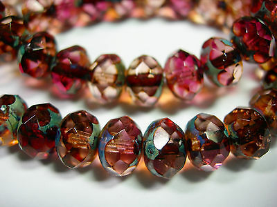 25 8x6mm Pink and Purple Travertine Czech Glass Picasso Rondelle beads