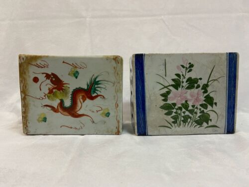 Two Chinese vintage porcelain opium pillows /hand rests.