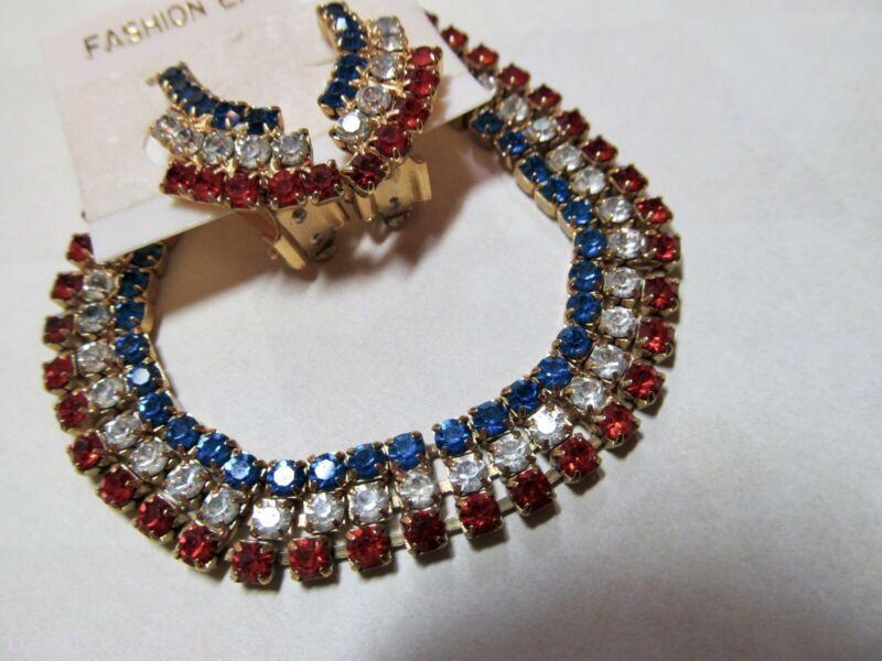 VtG Red White & Blue Rhinestone Bracelet & Matching Clip Earrings SET Patriotic
