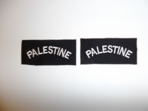 e1666 WW2 British Shoulder tabs pair Palestine black/white R21B2