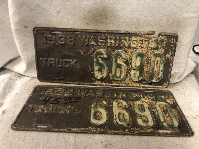 Vintage 1938 Washington Truck License Plate Pair