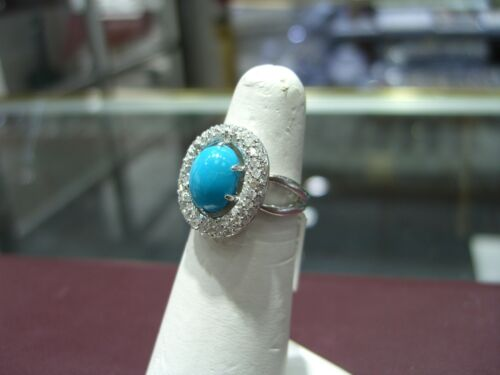 Fine Oval Turquoise And Diamond White Gold 14 Karat Ring New Wow Size 6.5!!!