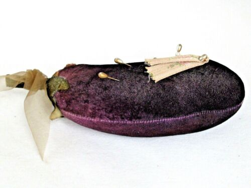 Antique Victorian Velvet Eggplant Vegetable Pin Cushion