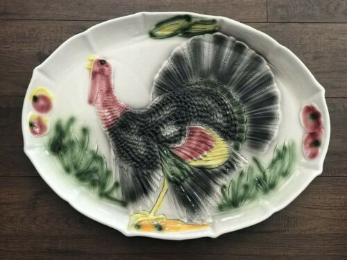 Vtg Manaco Serving Platter Large Turkey Plate Thanksgiving 'Calif USA' Ceramic