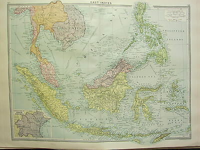 1920 LARGE MAP ~ EAST INDIES ~ BORENO SIAM MALAY PHILIPPINE CELEBES JAVA SUMATRA