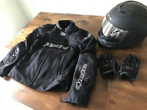 Ladies Alpinestars Motorcycle Jacket, Icon Helmet and Gloves