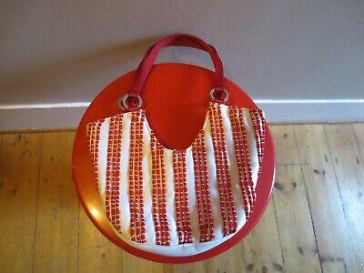 Vintage retro style red and white Johnny Loves Rosie satin & ribbon handbag