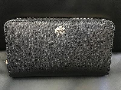 Nwt Tory Burch Robinson Zip Continental Wallet Black Women Handbag 11169071-001