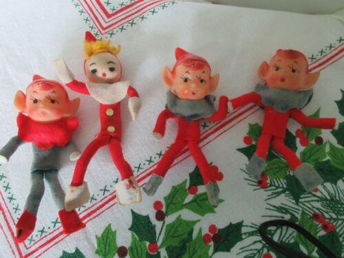 4 Vintage Pixie Elf Felt Red Green Rubber Head Christmas Ornament 60