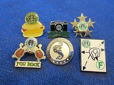 "Starbucks Coffee Employee Barista Reward Award Apron Pins Set of 6 Rare NEW 1"""