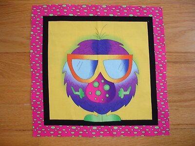 Halloween Friendly Monster Mr. Glasses Cotton Quilt Fabric Block 9 1/2